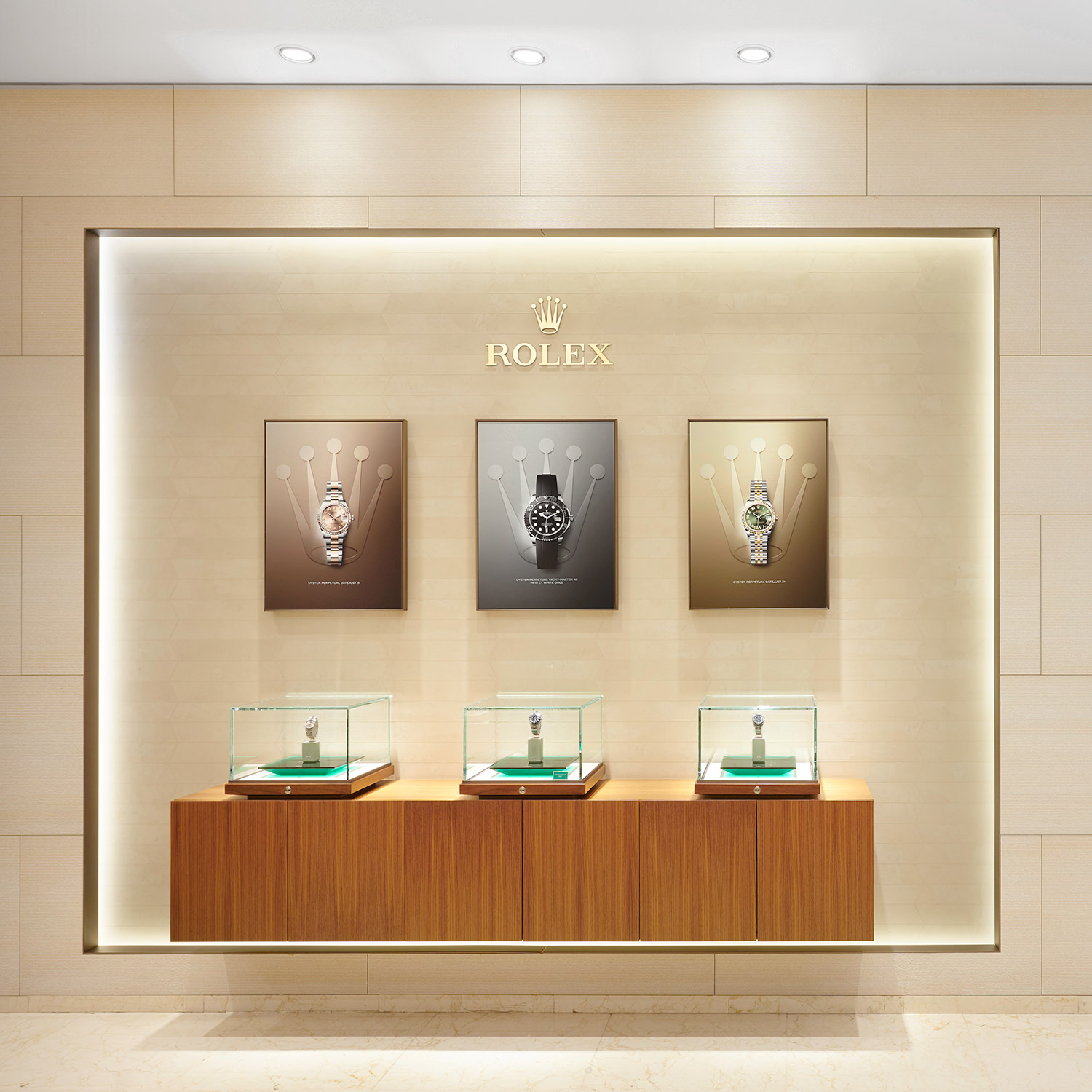 Siam Swiss Rolex Watches on Stucco Wall Display
